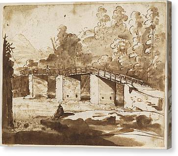 Landscape With A Bridge Canvas Print by Claude Lorrain
