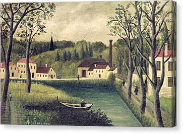 Landscape With A Fisherman Canvas Print by Henri Rousseau