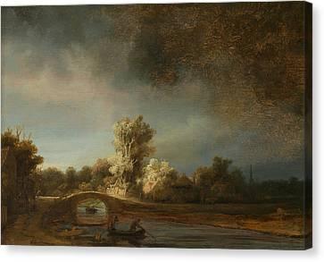 Landscape With A Stone Bridge Canvas Print by Rembrandt
