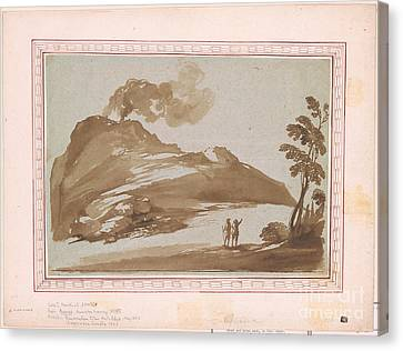 Landscape With A Volcano Canvas Print by Giovanni Francesco