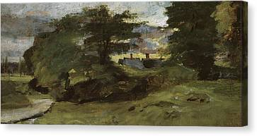 Landscape With Cottages Canvas Print by John Constable