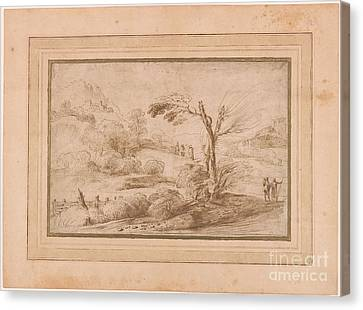 Landscape With Five Figures And Fence Canvas Print by Giovanni Francesco