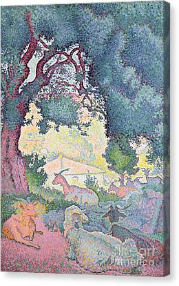 Landscape With Goats Canvas Print by Henri-Edmond Cross