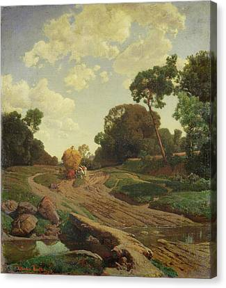 Landscape With Haywagon Canvas Print by Valentin Ruths