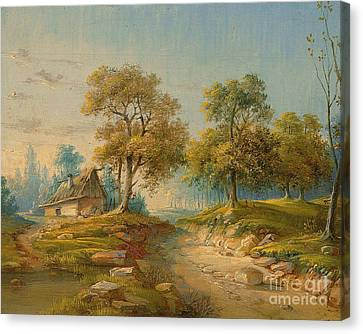 Landscape With Pond Canvas Print by MotionAge Designs
