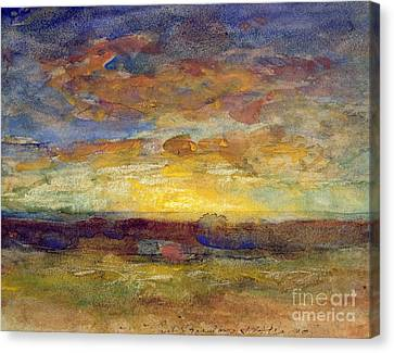 Landscape With Setting Sun Canvas Print by Auguste Francois Ravier
