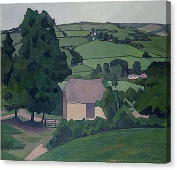 Landscape With Thatched Barn Canvas Print by Robert Polhill Bevan