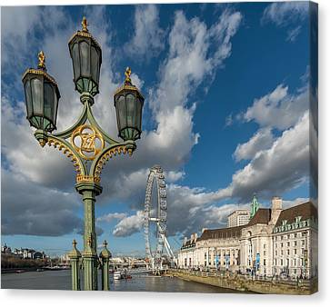 Lanterns On Westminster Canvas Print by Adrian Evans