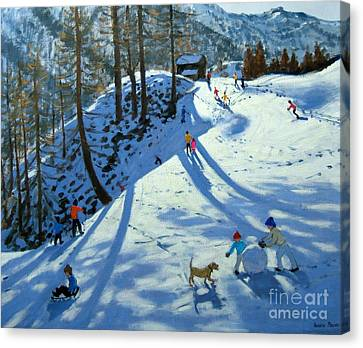 Large Snowball Zermatt Canvas Print by Andrew Macara