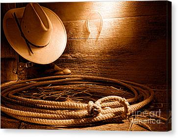 Lasso In Old Barn - Sepia Canvas Print by Olivier Le Queinec