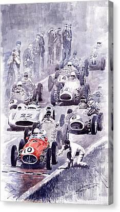 Last Control Maserati 250 F France Gp 1954 Canvas Print by Yuriy  Shevchuk
