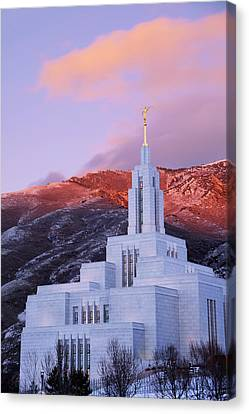 Last Light At Draper Temple Canvas Print by Chad Dutson