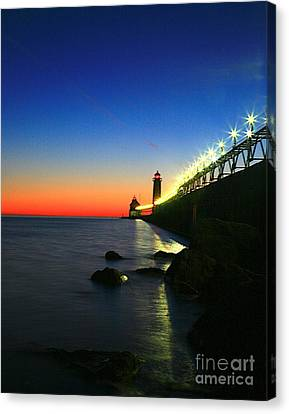 Last Light Grand Haven Michigan Canvas Print by Robert Pearson