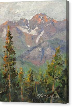 Last Light In Mountain Village Plein Air Canvas Print by Anna Rose Bain