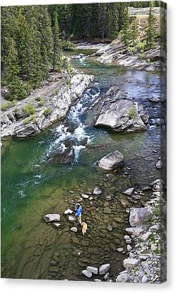 Late Season Fishing On The Gros Ventre Canvas Print by Drew Rush