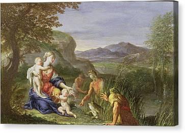 Latona And The Frogs Canvas Print by Francesco Trevisani