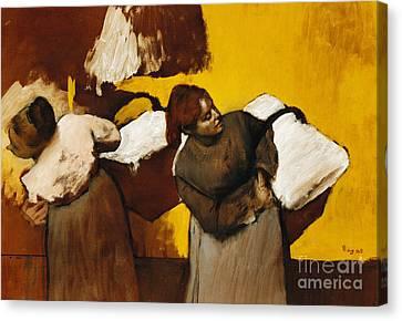 Laundresses Canvas Print by Edgar Degas