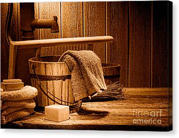 Laundry At The Ranch - Sepia Canvas Print by Olivier Le Queinec