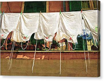 Laundry Day The Italian Way Canvas Print by Lynn Andrews