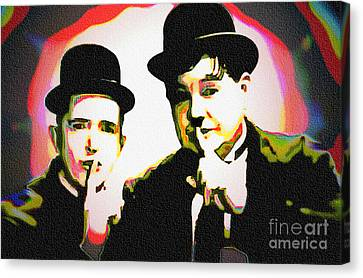 Laurel And Hardy - Pop Art Canvas Print by Ian Gledhill