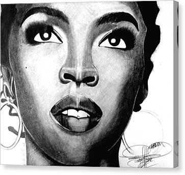 Lauryn Hill Drawing Canvas Print by Keeyonardo