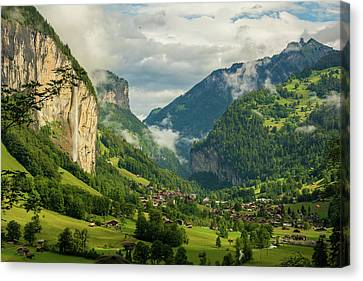 Lauterbrunnen Valley Landscape Canvas Print by Priyanka Madia