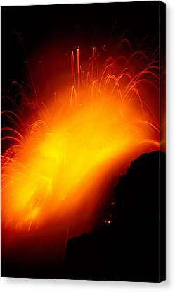 Lava And Steam Canvas Print by Peter French - Printscapes