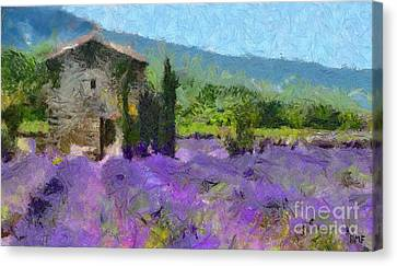 Lavender And Stone House Canvas Print by Dragica  Micki Fortuna