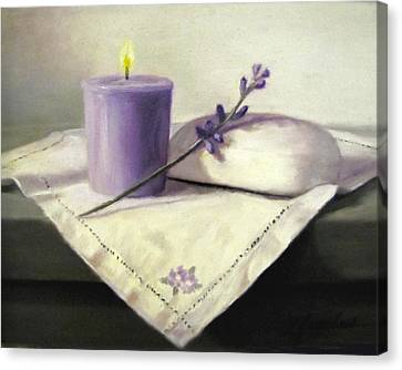 Lavender Sprig Canvas Print by Linda Jacobus