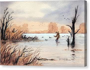 Laying Out The Decoys I Canvas Print by Bill Holkham