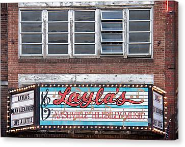 Layla's In Nashville Canvas Print by Mike Burgquist