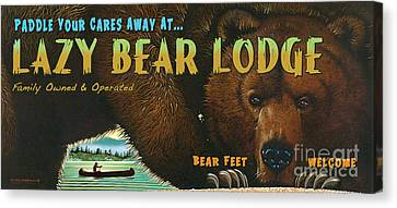 Lazy Bear Lodge Sign Canvas Print by Wayne McGloughlin