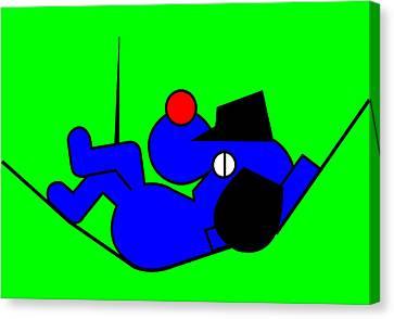 Lazy Blue Dog Canvas Print by Asbjorn Lonvig