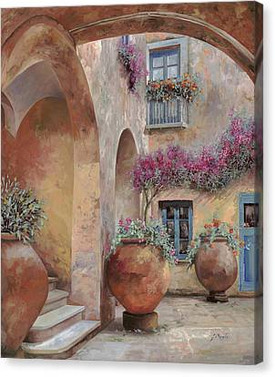 Le Arcate In Cortile Canvas Print by Guido Borelli