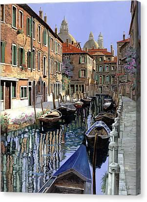 Le Barche Sul Canale Canvas Print by Guido Borelli