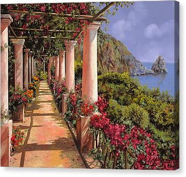 Le Colonne E La Buganville Canvas Print by Guido Borelli