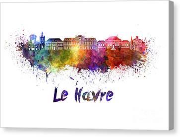 Le Havre Skyline In Watercolor Canvas Print by Pablo Romero