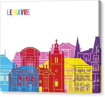 Le Havre Skyline Pop Canvas Print by Pablo Romero