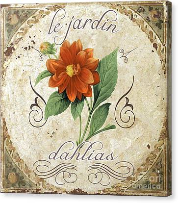 Le Jardin Dahlias Canvas Print by Mindy Sommers