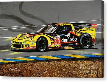 Le Mans 2011 Corvette Canvas Print by Alain Baudouin