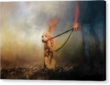 Leading Him Out Of The Storm Dog Art Canvas Print by Jai Johnson