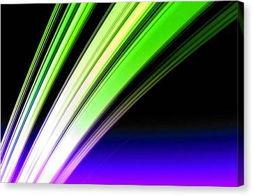 Leaving Saturn In Cobalt And Lime Canvas Print by Pet Serrano