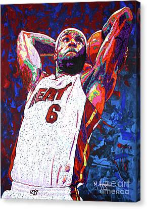 Lebron Dunk Canvas Print by Maria Arango