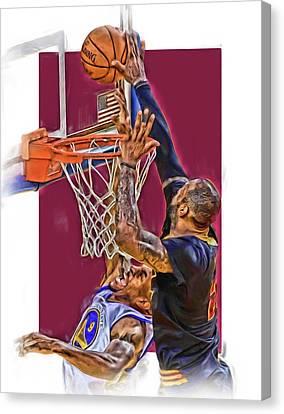 Lebron James Cleveland Cavaliers Oil Art Canvas Print by Joe Hamilton