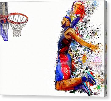 Lebron James Dunk In Color Painting Canvas Print by Andres Ramos