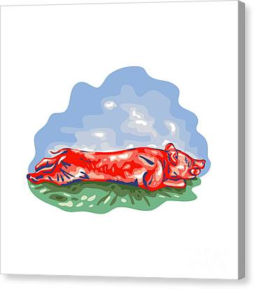 Lechon Roast Pig Wpa Canvas Print by Aloysius Patrimonio