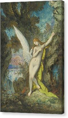 Leda And The Swan Canvas Print by Gustave Moreau