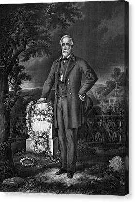 Lee Visits The Grave Of Stonewall Jackson Canvas Print by War Is Hell Store