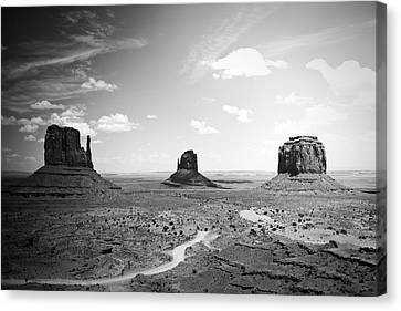 Left And Right Mittens And Merrick Butte Black And White Canvas Print by Ryan Kelly
