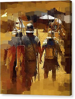 Legionnaires Marching To Camp Canvas Print by Clarence Alford